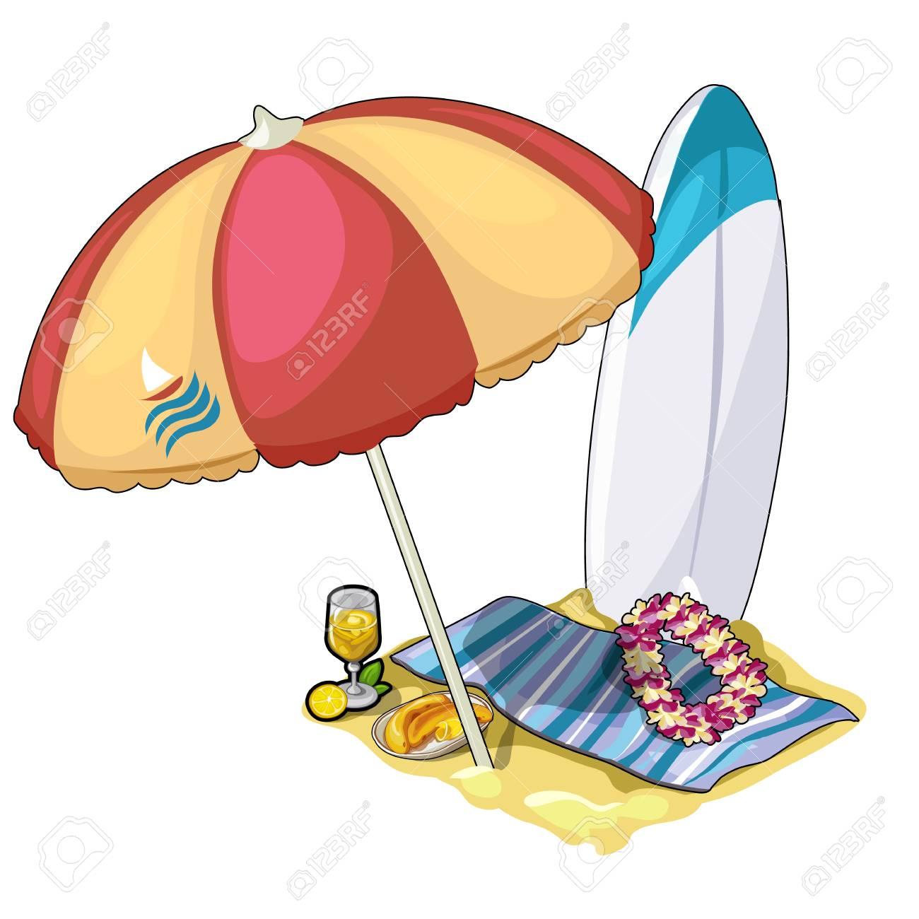 Sonnenschirm strand clipart  Strand Für Aktive Erholung Mit Sonnenschirm, Handtuch Und Surf ...