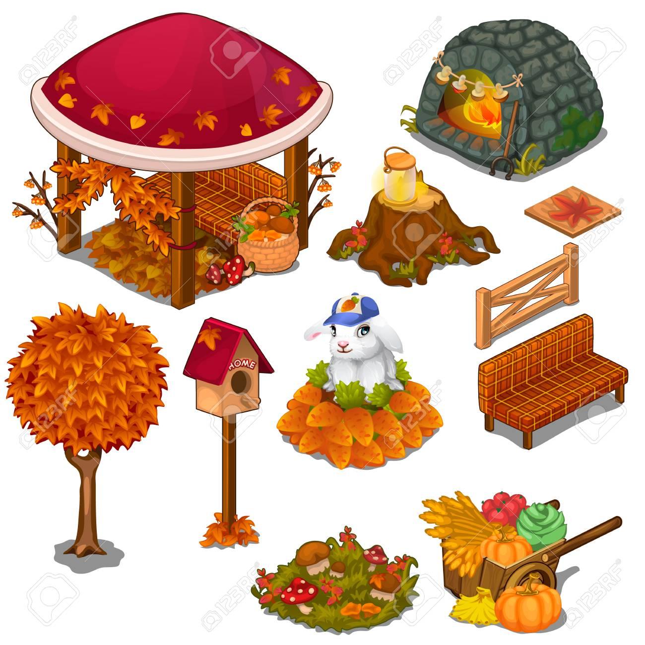 Set Von Nützlichen Und Dekorativen Elementen Für Den Garten. Laube, Herd,  Baumstumpf,