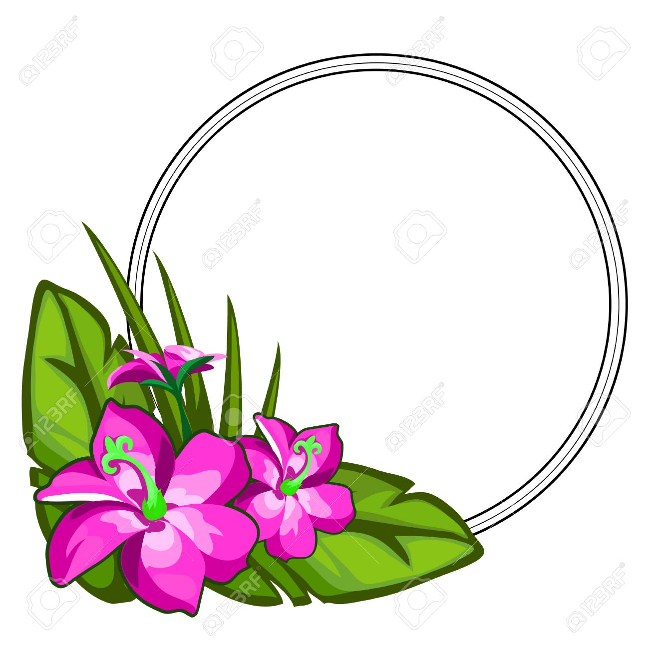 Bright pink flower on large green leaves flower arrangement bright pink flower on large green leaves flower arrangement with circular frame for text mightylinksfo