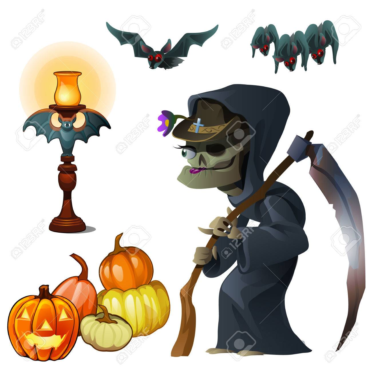 Old Witch With Scythe Pumpkin Lantern And Bats Symbols Of Holiday Halloween Vector