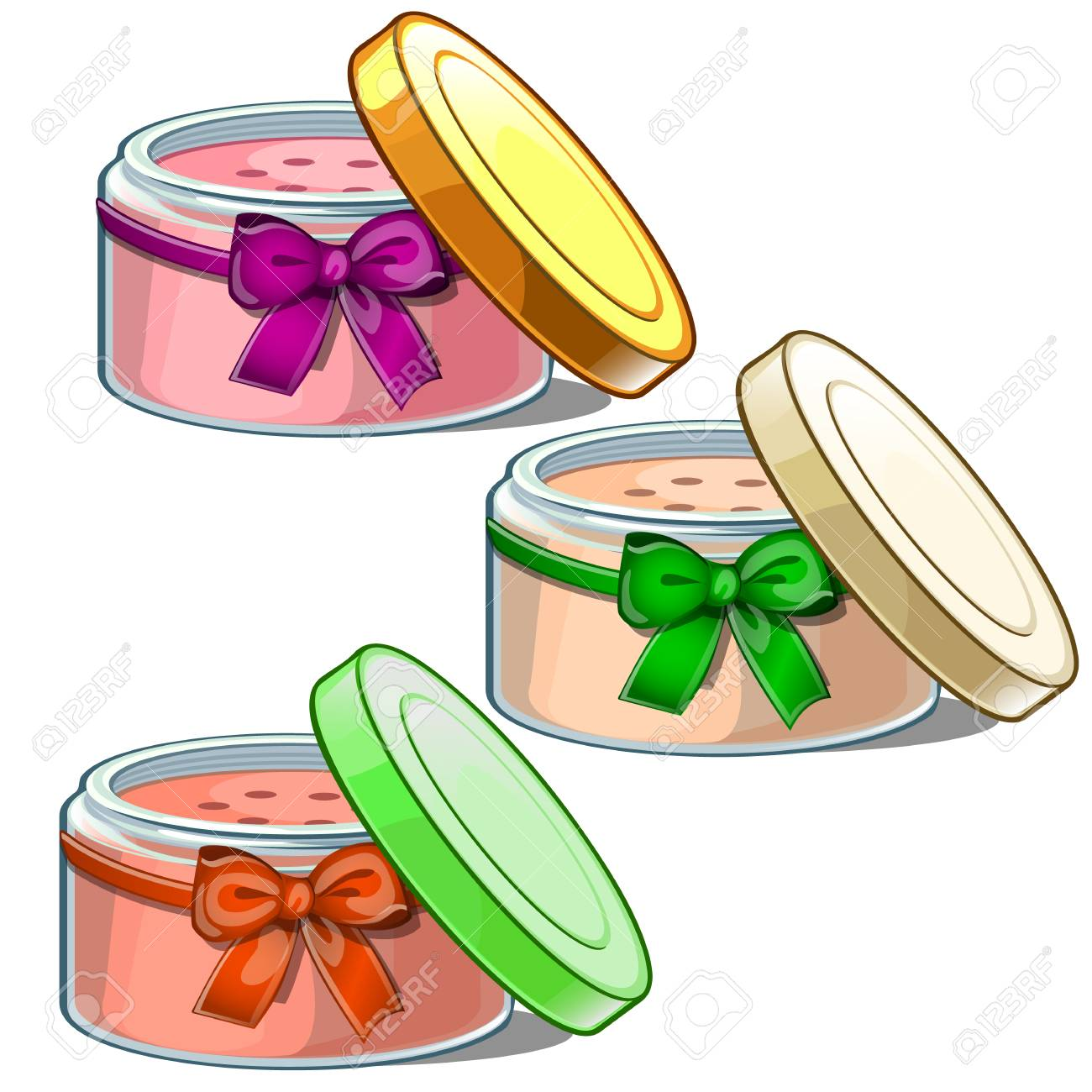 Three Open Cosmetic Jars With Cream For Skin Care Of Body And Royalty Free Cliparts Vectors And Stock Illustration Image 86084030