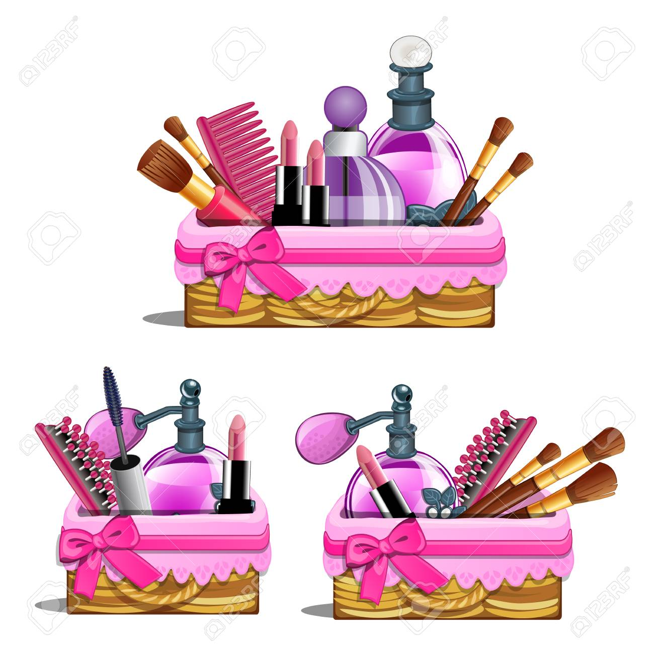 Womens Pink Basket With Cosmetic Brushes Lipstick Perfume Royalty Free Cliparts Vectors And Stock Illustration Image 86084034