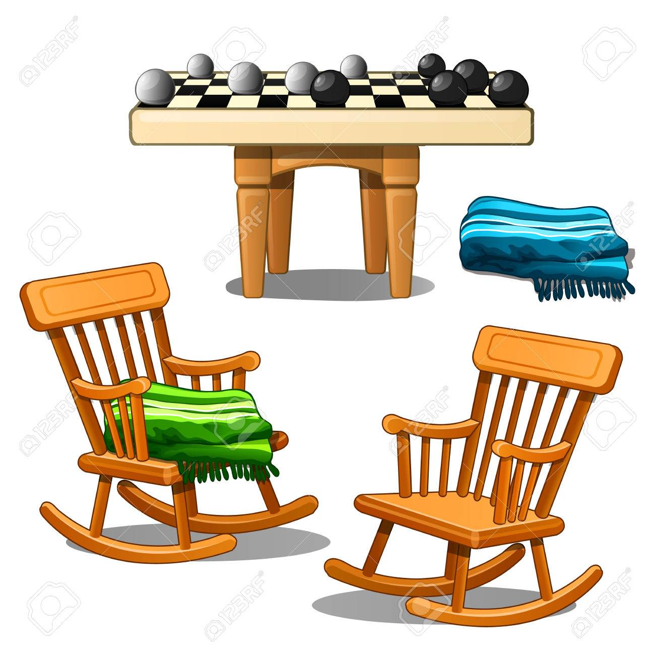 Two Rocking Chairs, Green And Blue Plaid And Checkers. Comfort, Board Games,