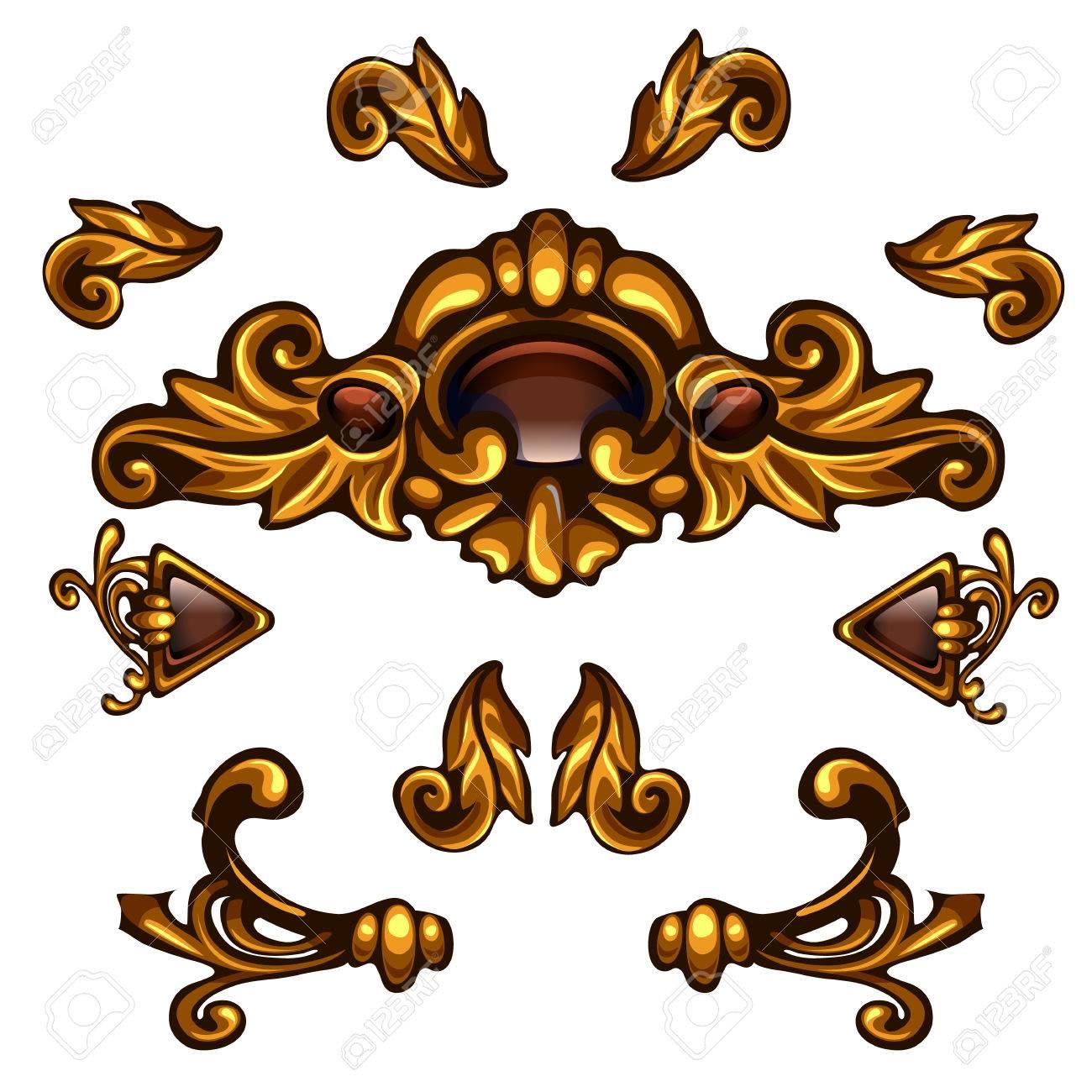 Goldene Dekorative Elemente, Blumenlocken, Pfeile, Volumenmuster ...