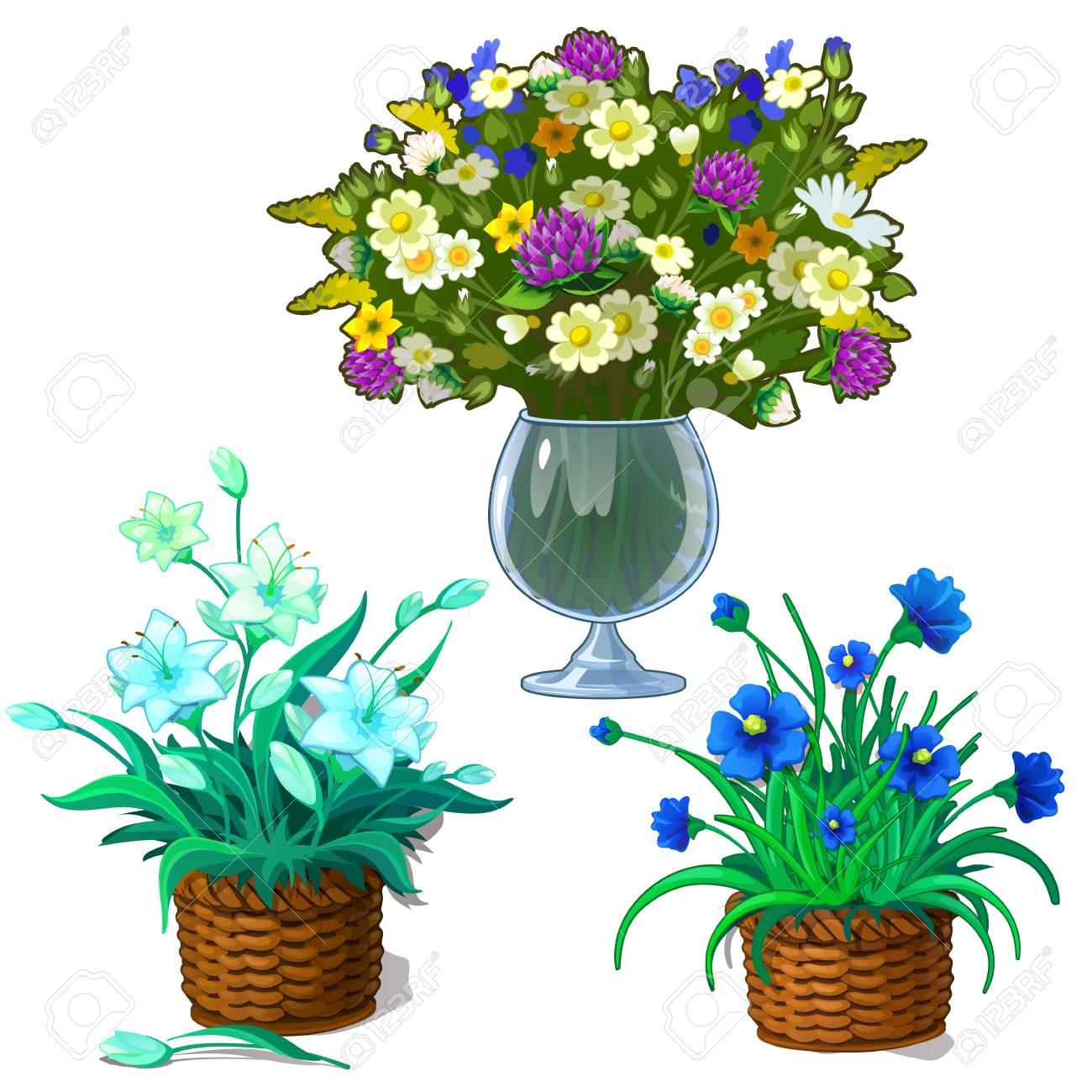Tres Imagenes De Plantas De Interior En Maceta Y Ramo De Flores - Flores-interior