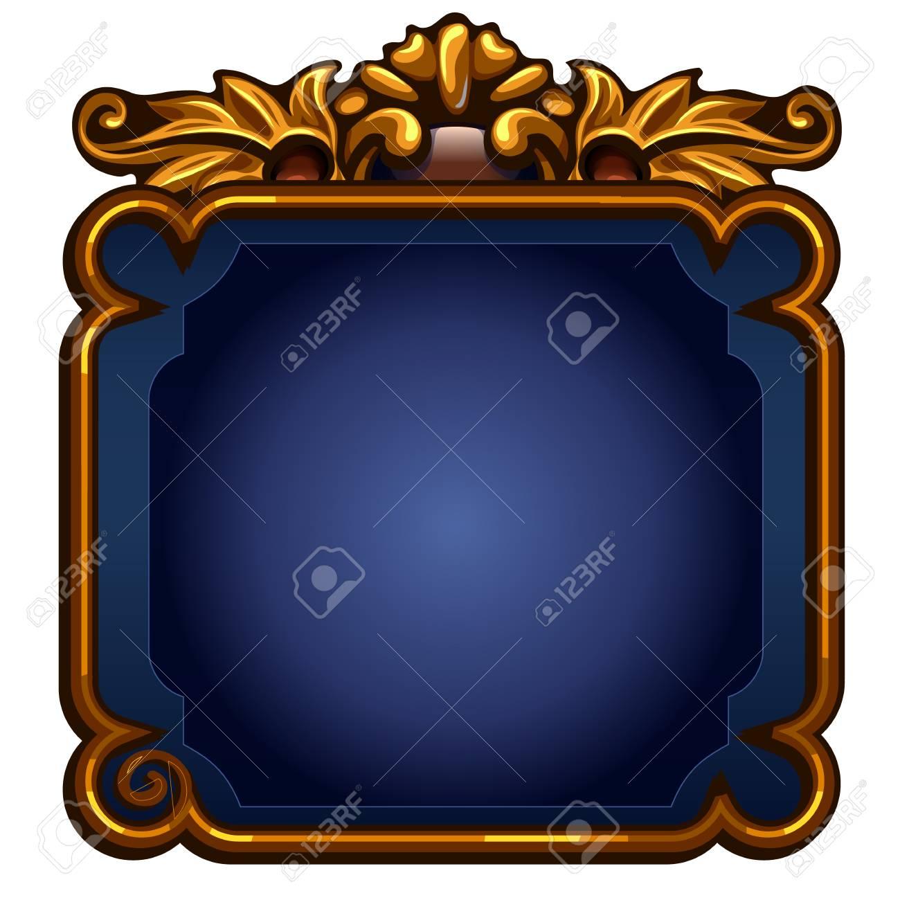 Spiel Blauer Bildschirm Mit Goldener Rahmen. Vektor-Illustration Auf ...