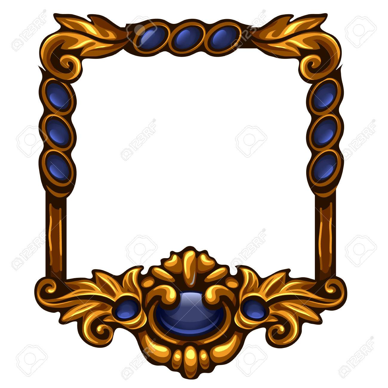 1fcd4e9eb50 Square blue gold frame with buttons and copy space. Element for game  interface. Vector
