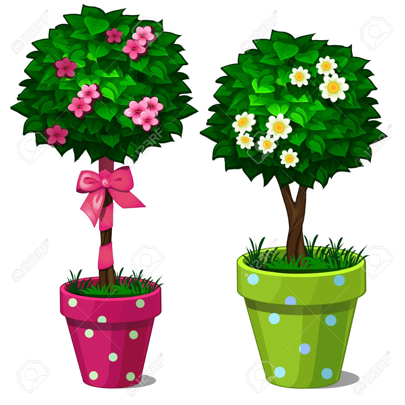 Two Decorative Bonsai Tree With Flowers In Green And Pink Pots Stock Photo Picture And Royalty Free Image Image 88145224 Polish your personal project or design with these cartoon tree transparent png images, make it even more personalized and more attractive. two decorative bonsai tree with flowers in green and pink pots