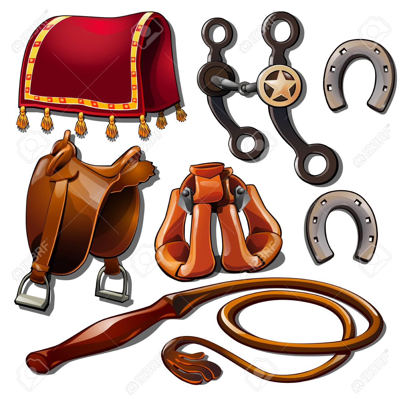 Attributes of cowboy and horse accessories. Set of seven Wild..