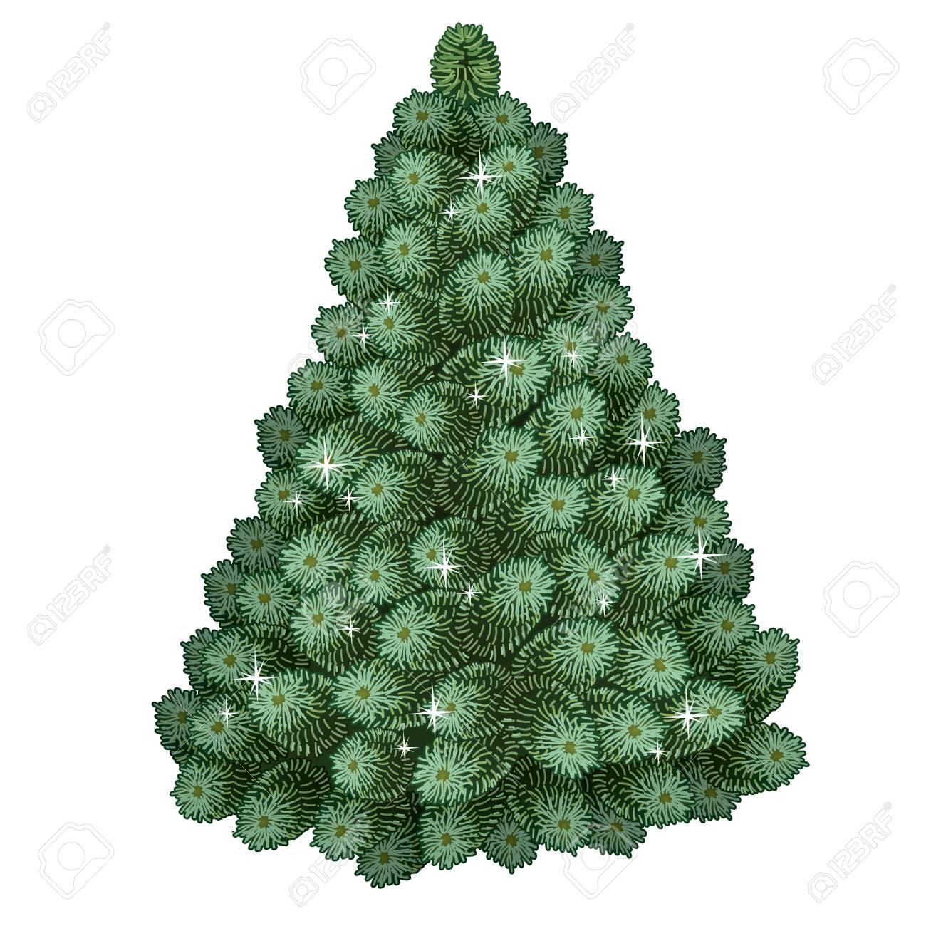 Realistic Green Christmas Tree Traditional Holiday Symbol Tree