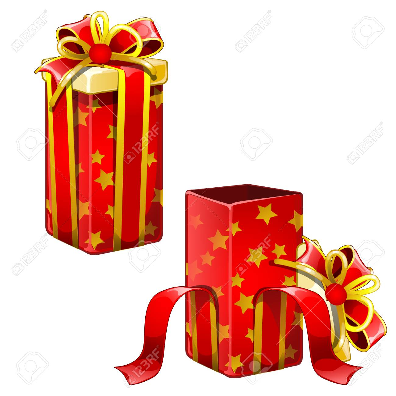 Two Red Gift Boxes Open And Closed Christmas New Year Birthday