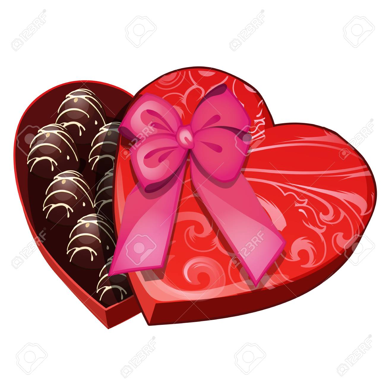 Box Of Chocolates In Shape Of Heart Sweet Romantic Gift For Royalty Free Cliparts Vectors And Stock Illustration Image 100987754