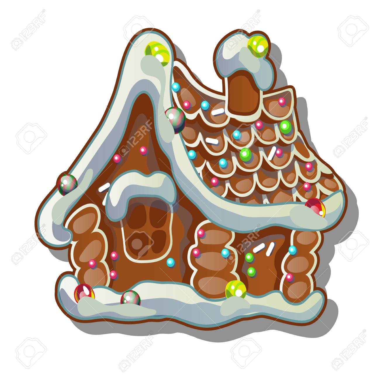 Cartoon Rustic Wooden House In Winter Gingerbread House Sketch