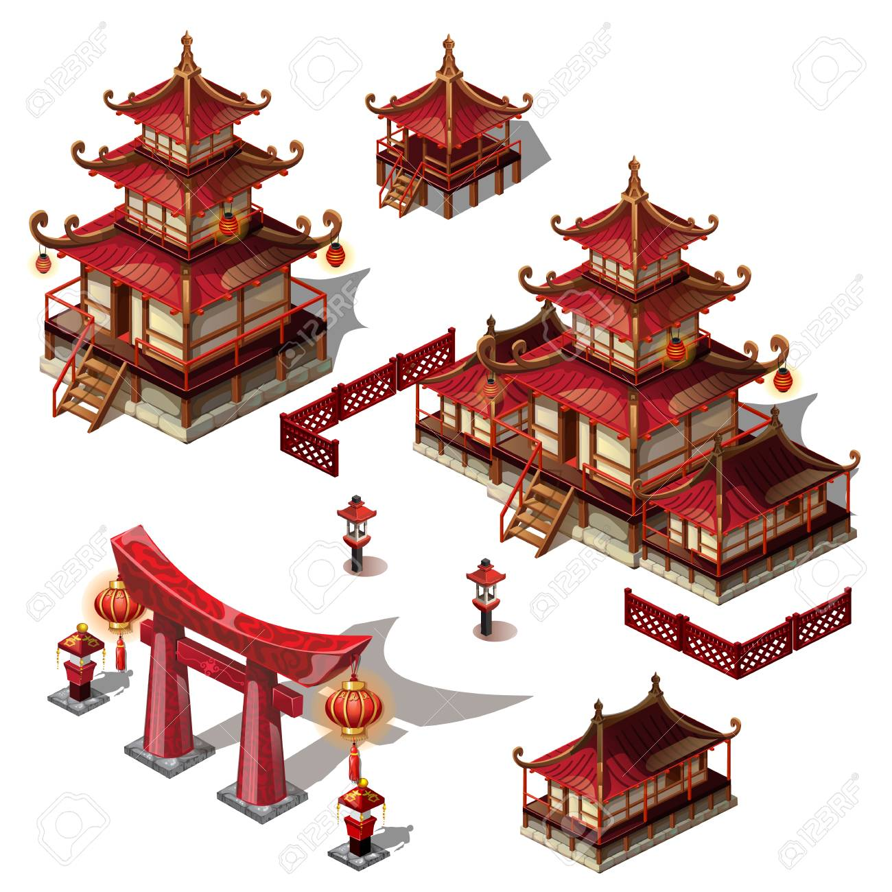 A set of architectural elements in Oriental style. Pagoda house and gate black and red color. Vector cartoon close-up illustration - 104377887