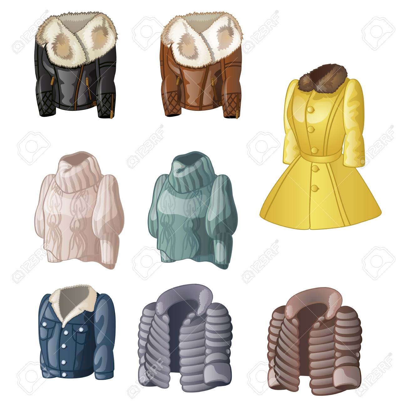 a6a05a0572a6 Set Of Womens Animated Clothing Isolated On A White Background ...