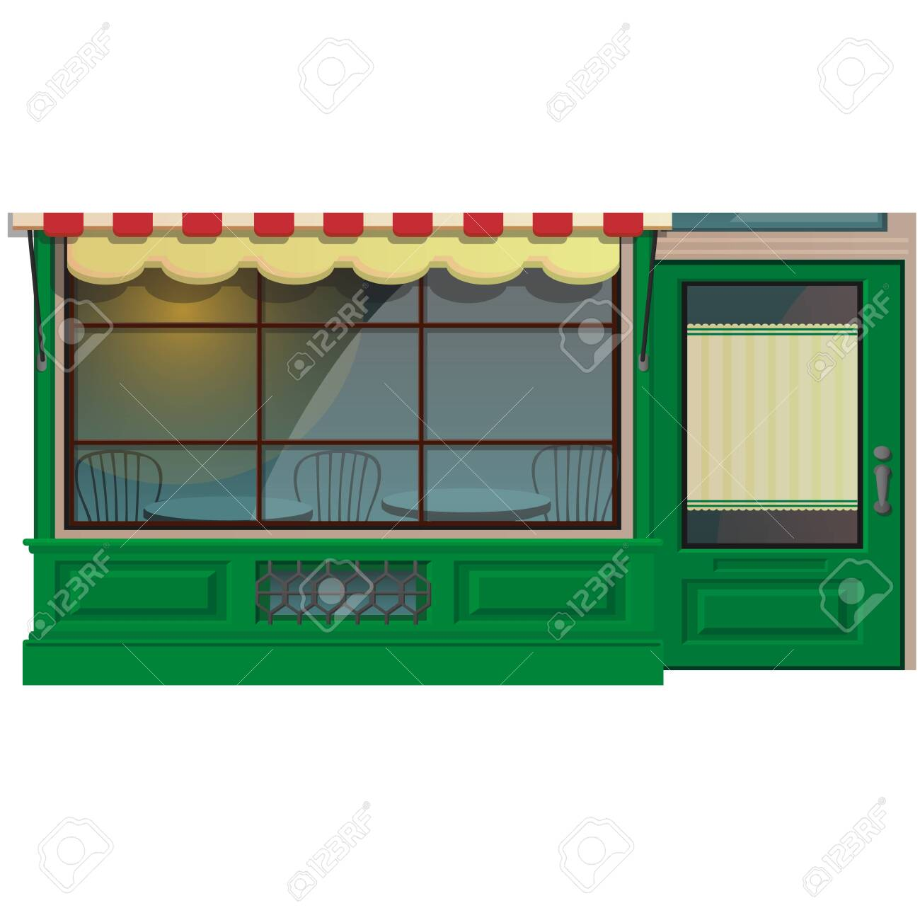 Mini Cafe Shop Exterior Isolated On White Royalty Free Cliparts Vectors And Stock Illustration Image 123992334
