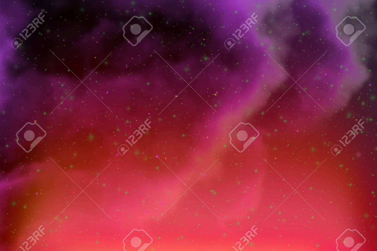 Abstract Fantasy Purple Space And Stars Colorful Background With
