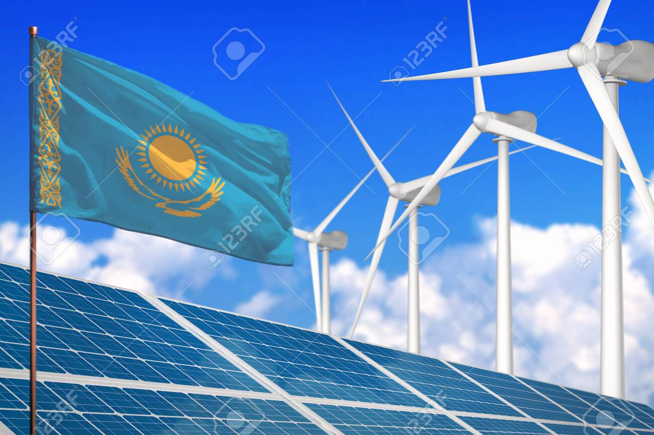 Kazakhstan solar and wind energy, renewable energy concept with windmills - renewable energy against global warming - industrial illustration, 3D illustration - 136730450