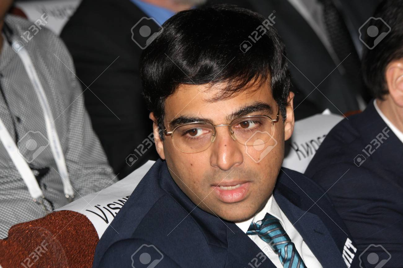 Moscow. State Tretyakov callery. May 31.2012. World chess championship match.The closing ceremony. Champion Viswanathan Anand.  Stock Photo - 13893703