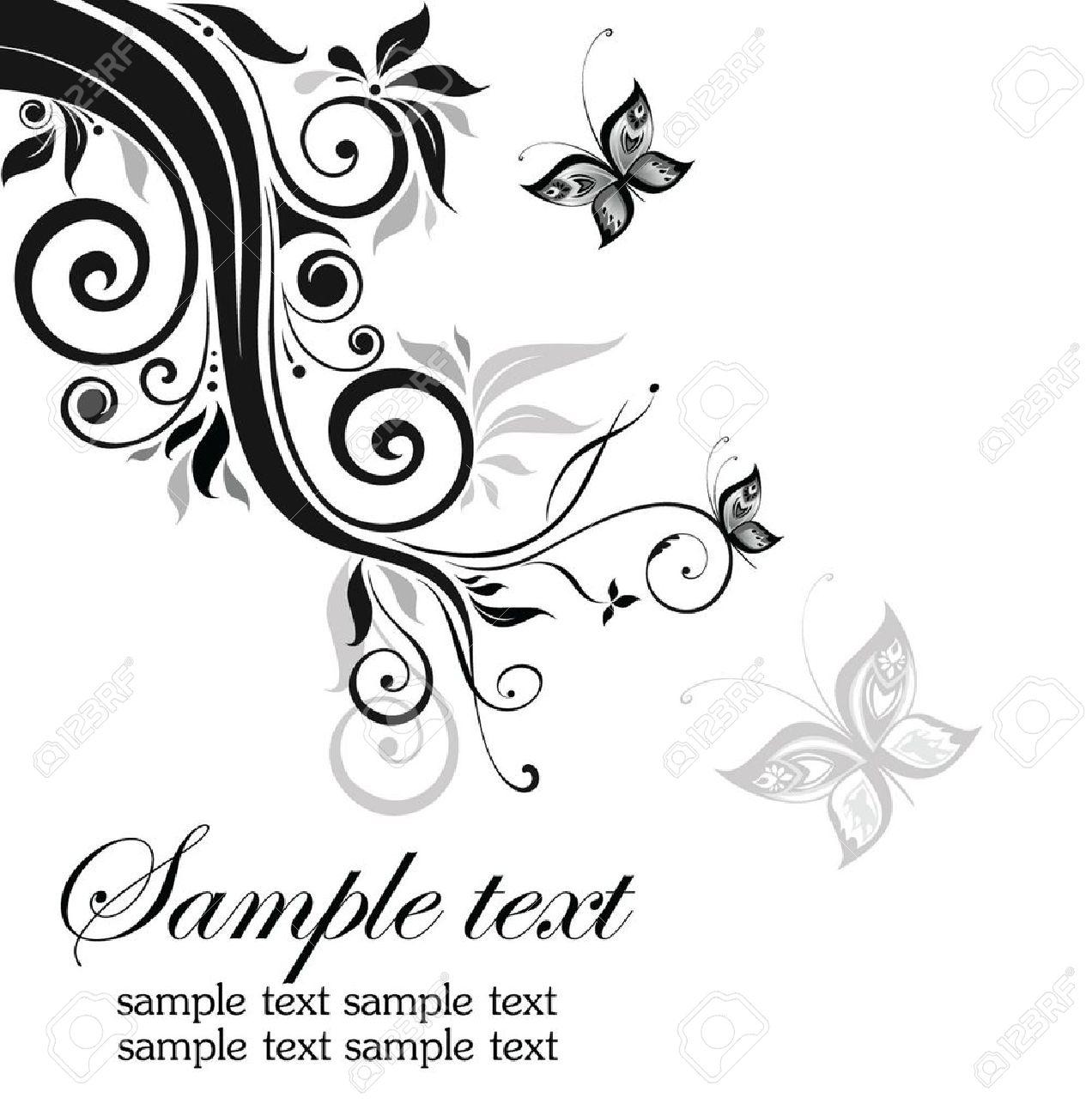 Decorative floral border (black and white) Stock Vector - 18760899