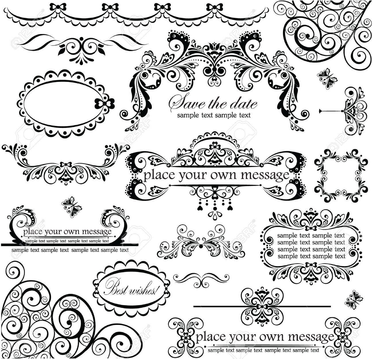 resume border clipart vector feather gold frame antique images vintage wedding clip art wedding design wedding design set stock