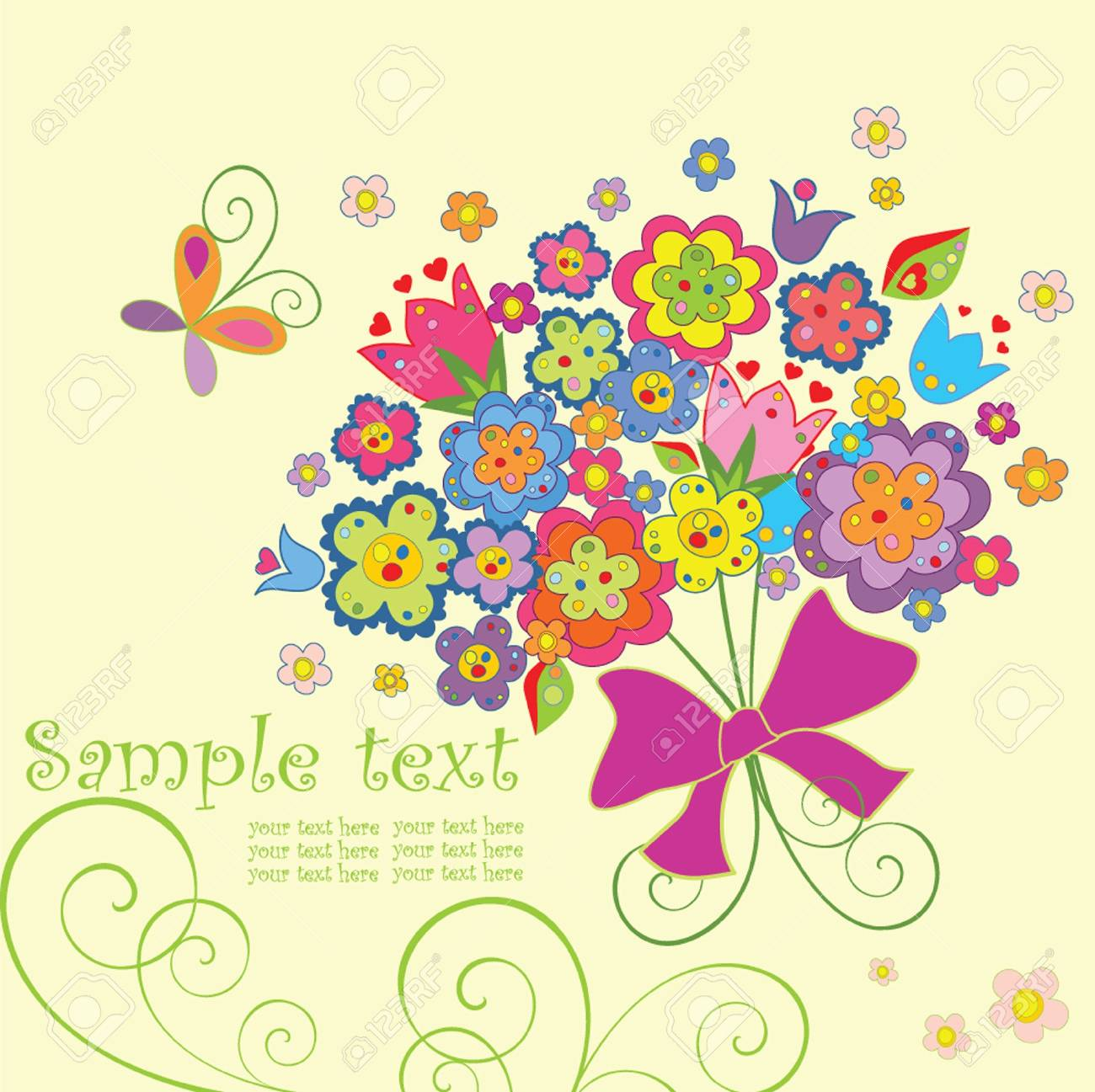 Greeting postcard with funny bouquet Stock Vector - 18858687