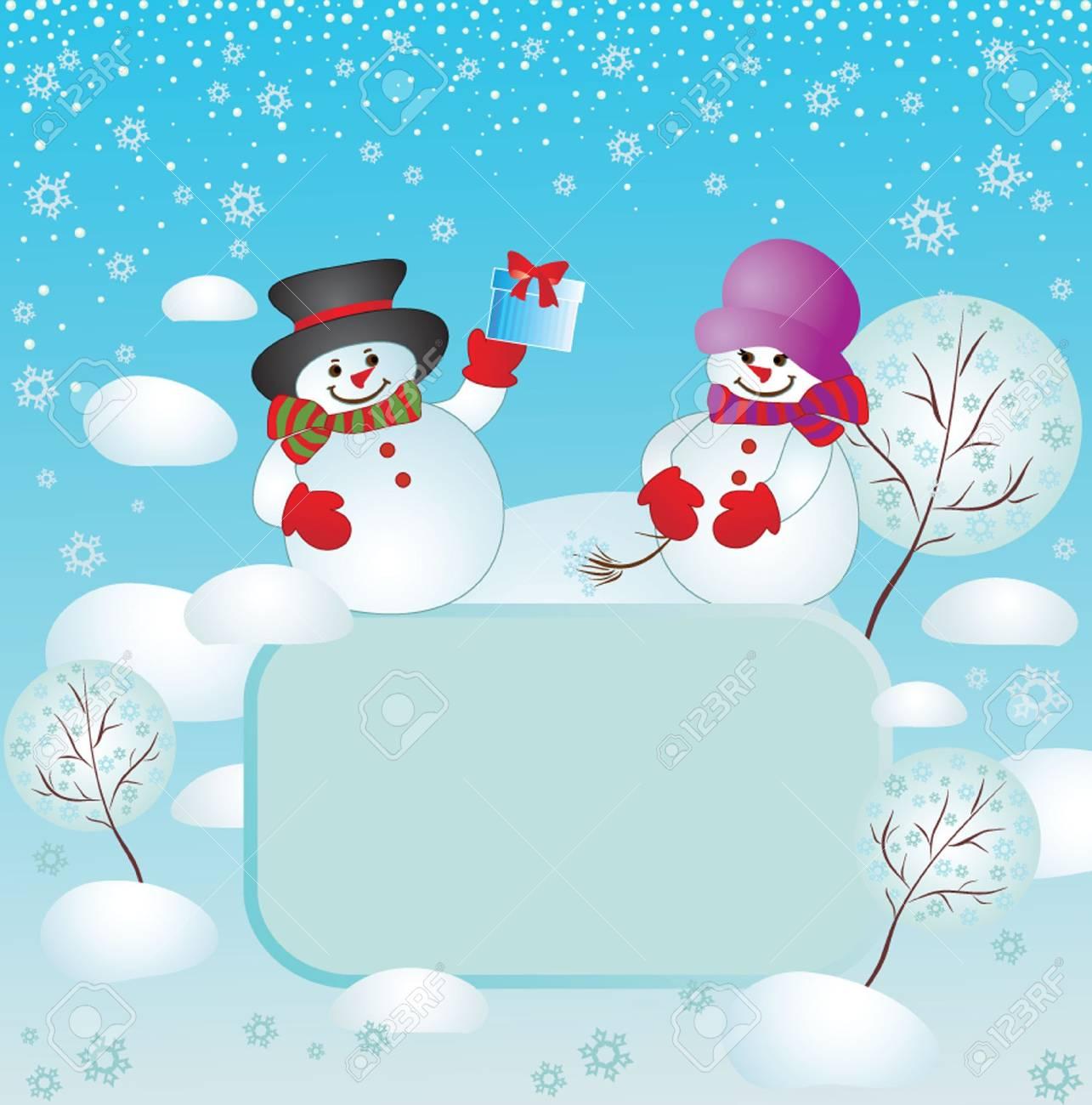 Xmas card with snowman Stock Vector - 18894021