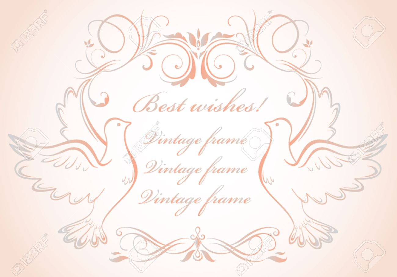 Wedding Frame With Doves Royalty Free Cliparts Vectors And Stock