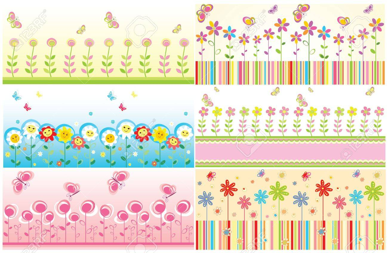 seamless floral cute borders royalty free cliparts vectors and