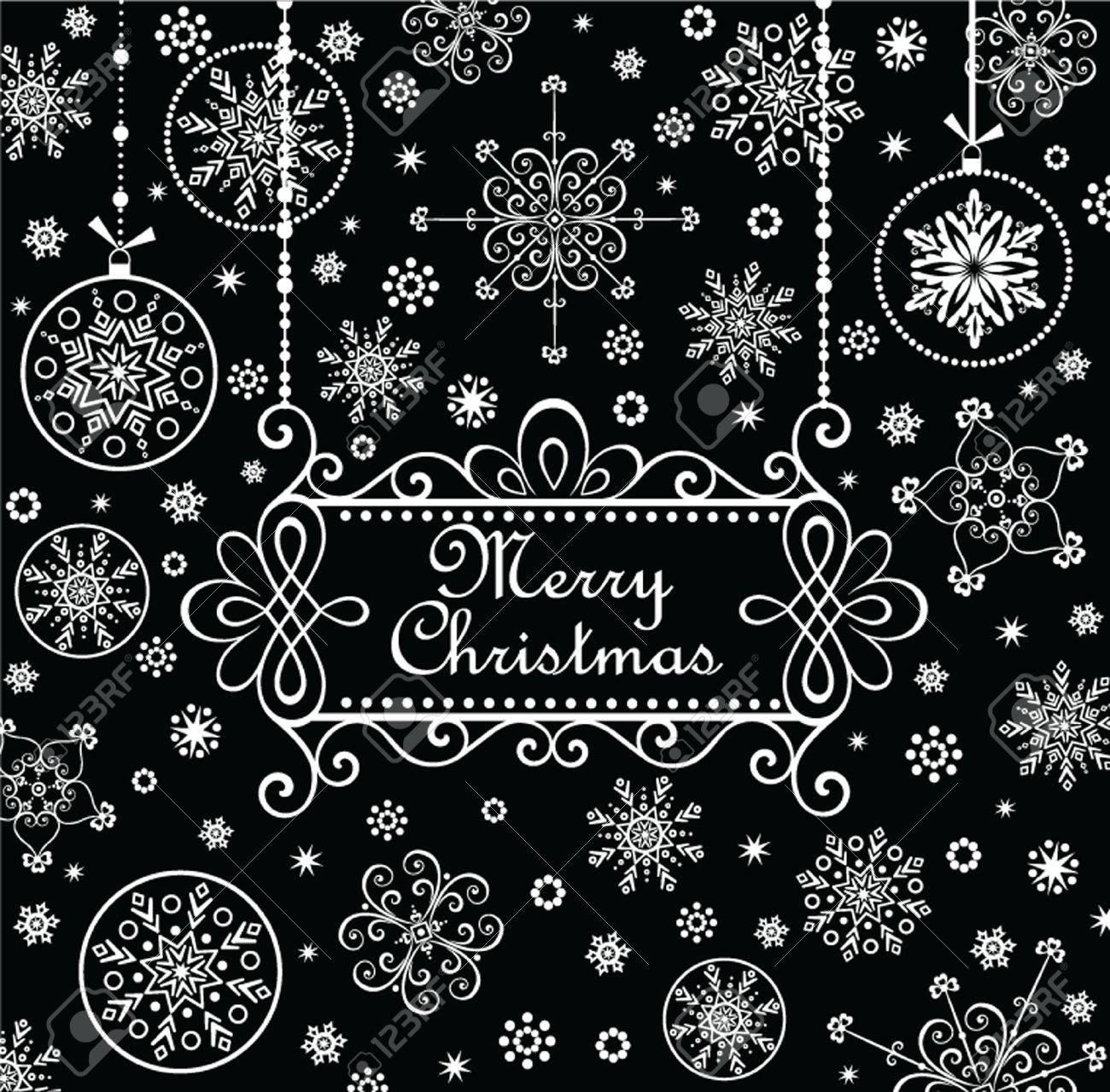 Carte De Voeux De Noël En Noir Et Blanc Clip Art Libres De Droits