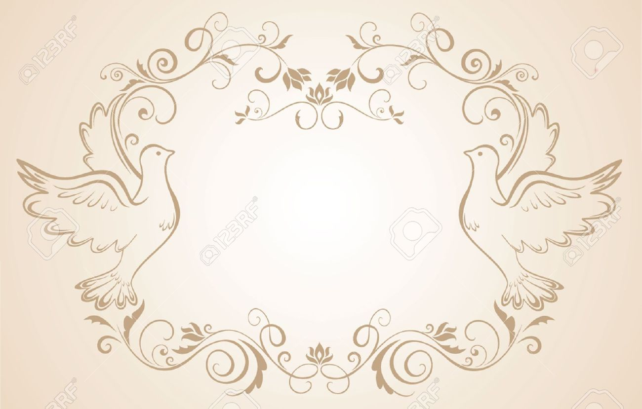White dove ornament - Dove Ornament Wedding Frame With Doves Illustration