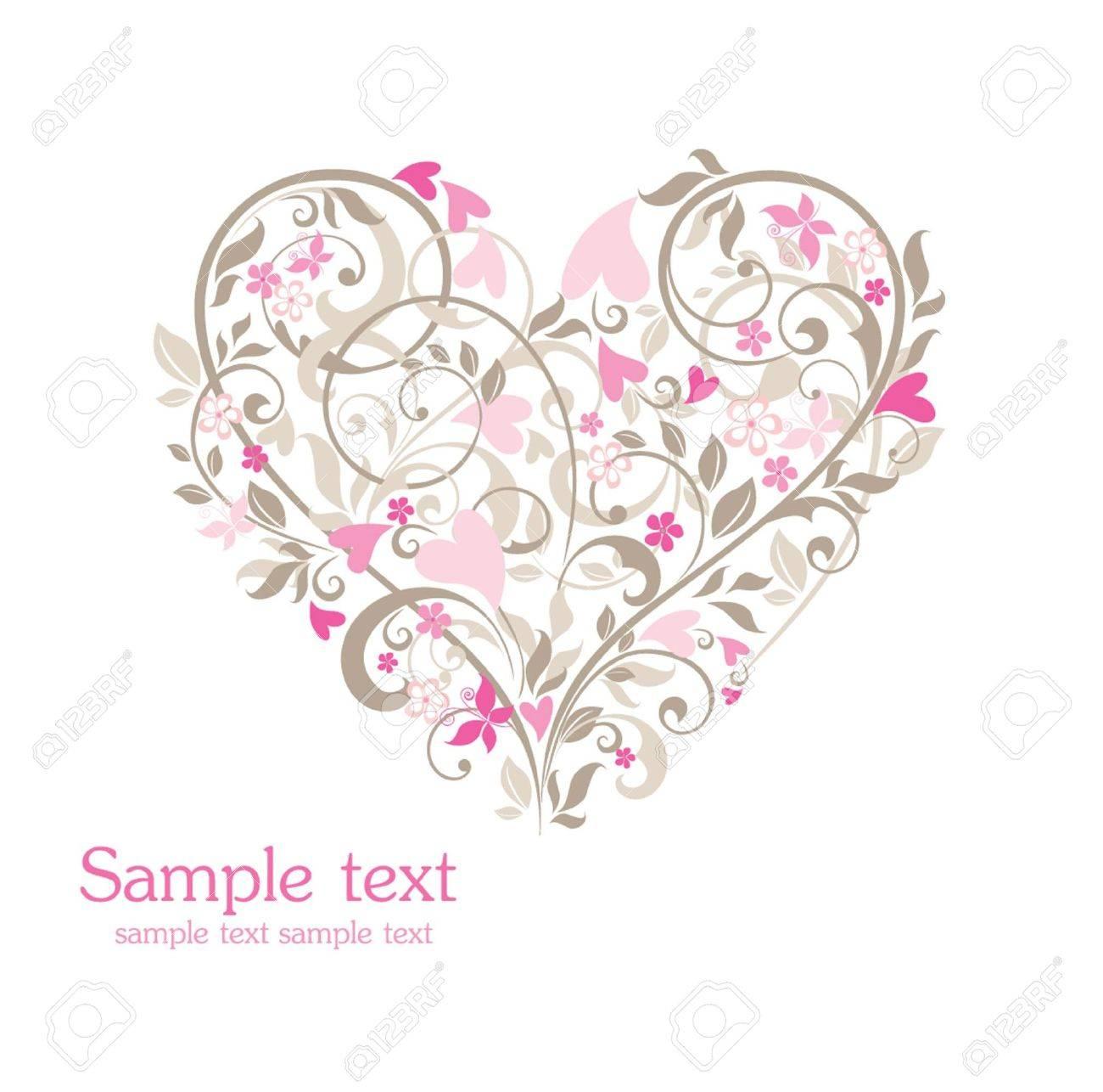 かわいいお花のハートのイラスト素材ベクタ Image 18972828