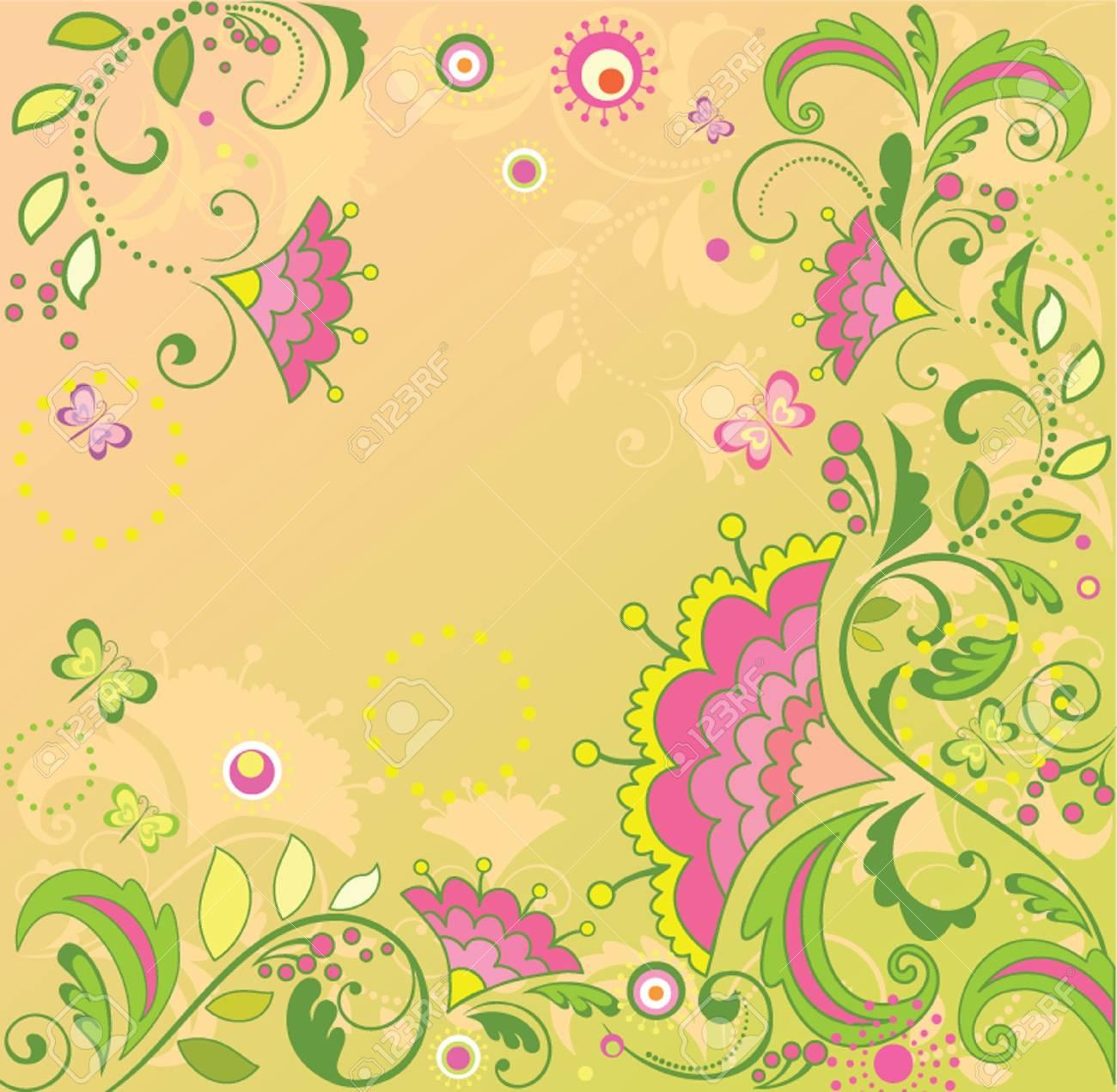 Retro floral card Stock Vector - 19034726