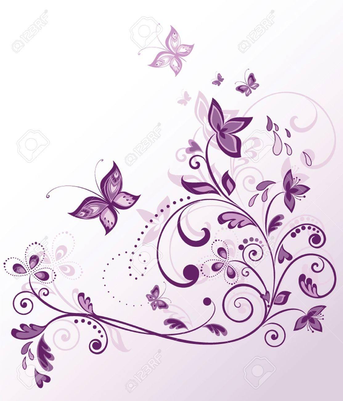 Vintage floral violet card - 19034743