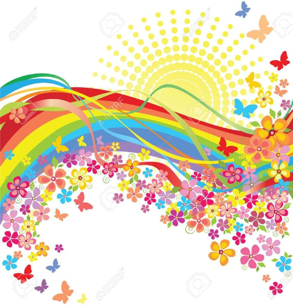 Rainbow and flowers Stock Vector - 19034951