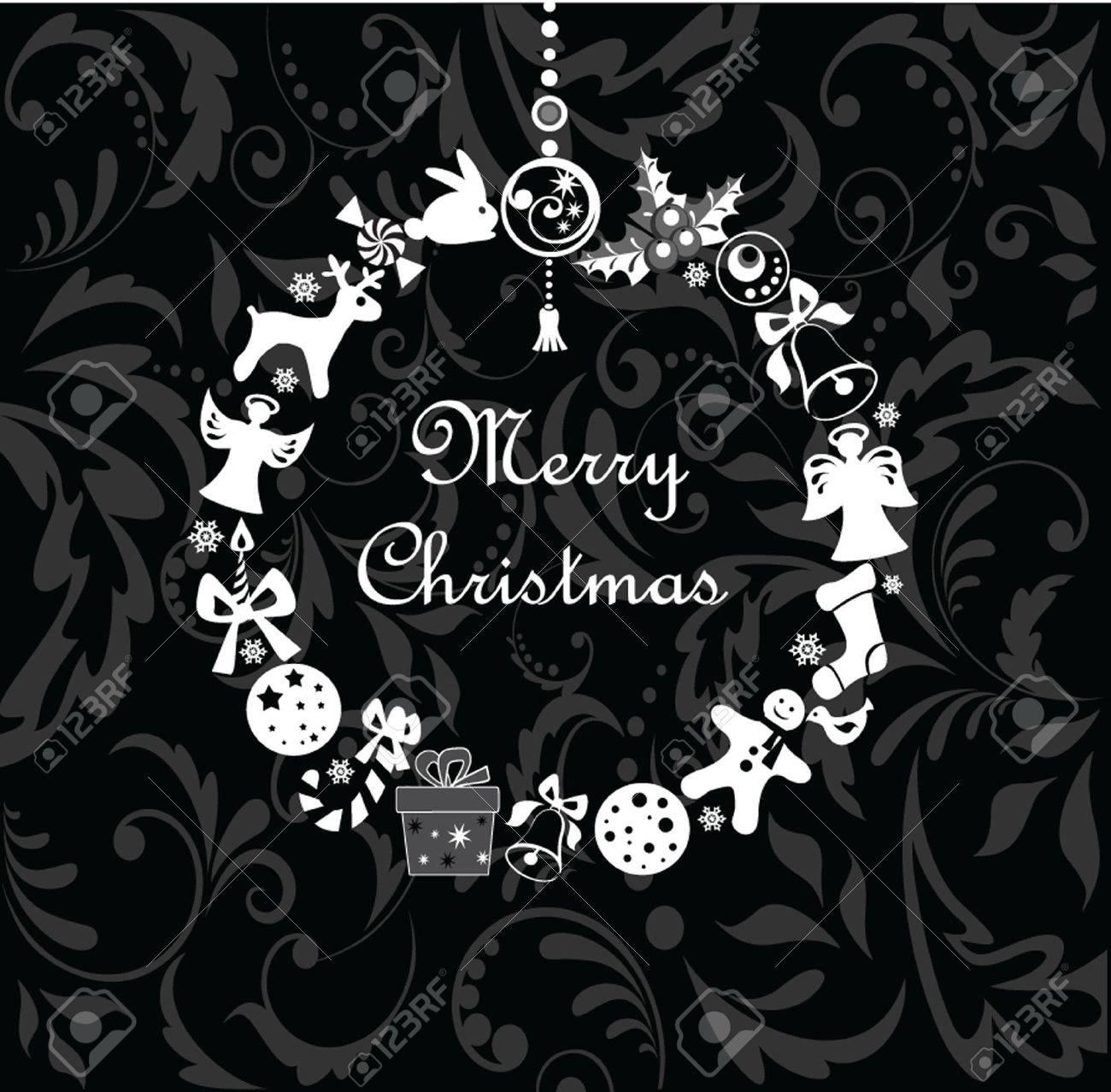 Xmas wreath (black and white) Stock Vector - 19094504