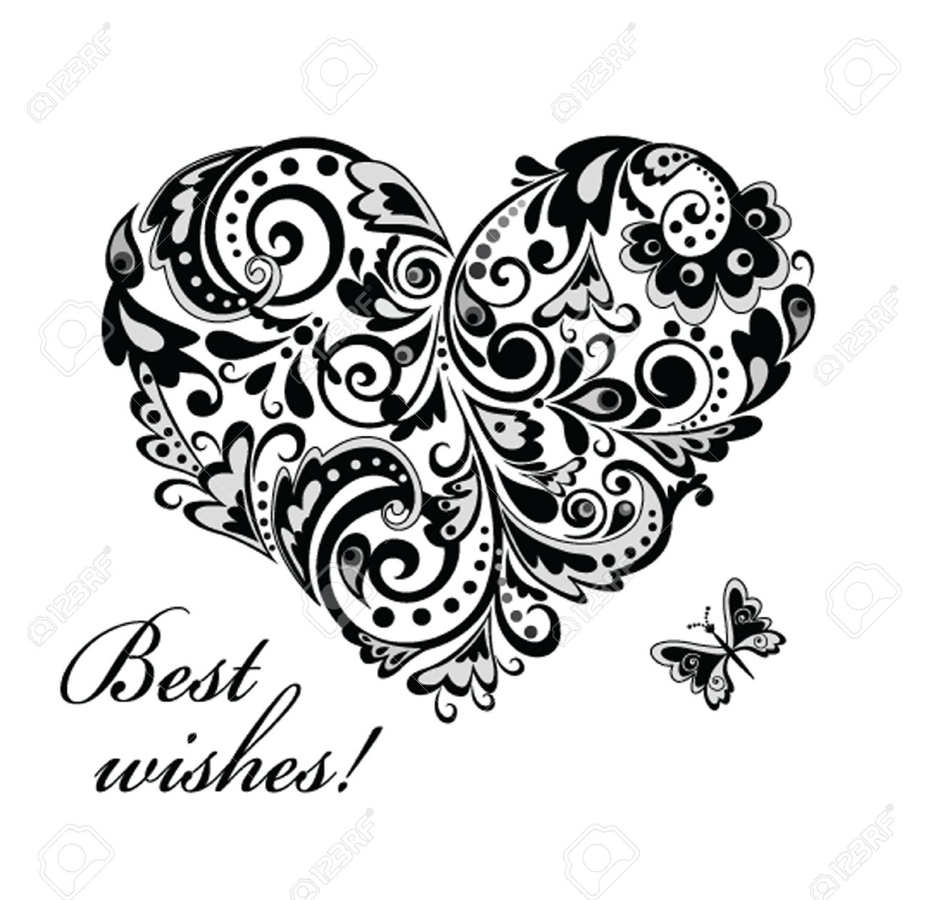 banque dimages carte de voeux avec la forme de coeur noir et blanc