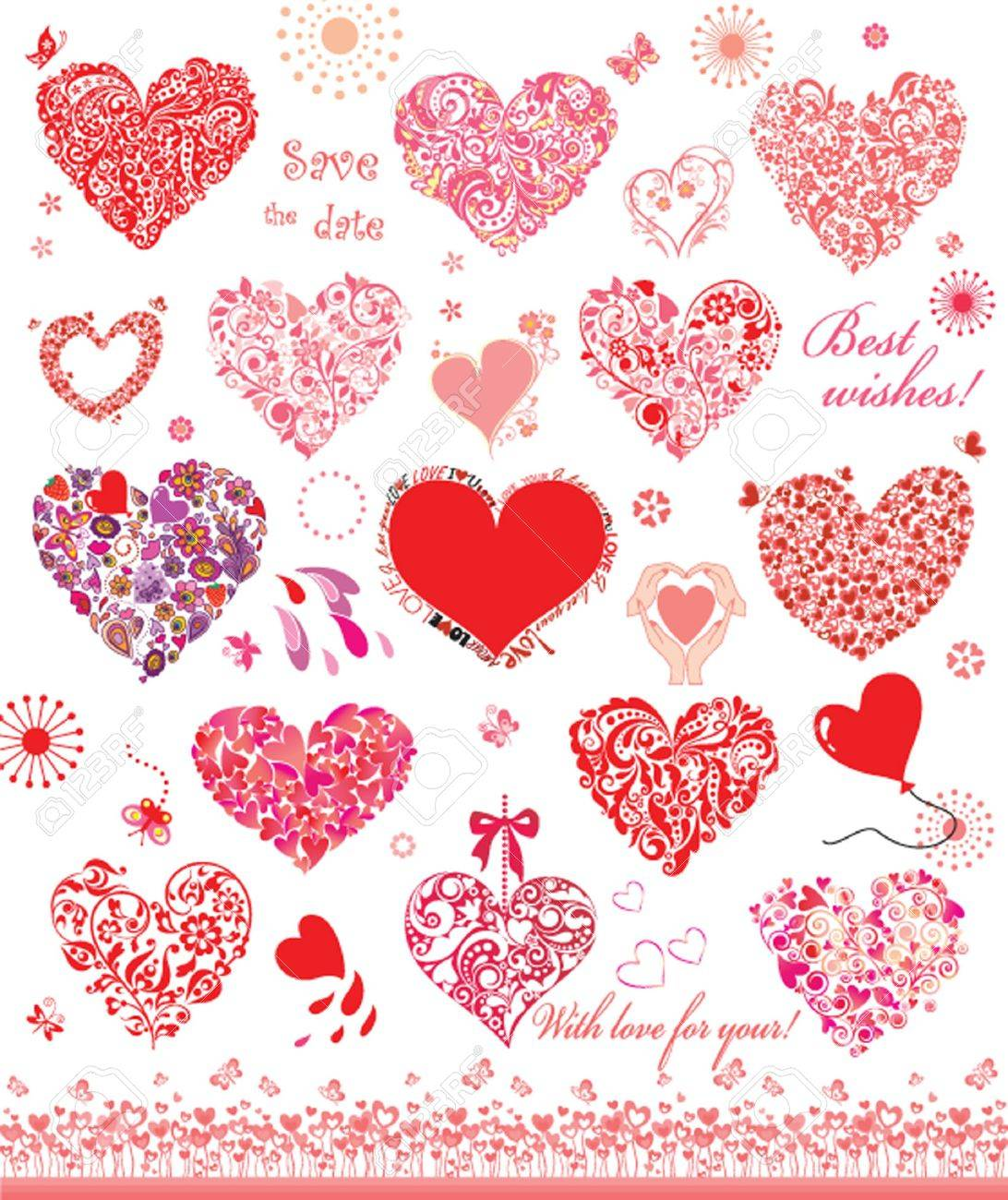 Set of cute red and pink hearts Stock Vector - 20180377