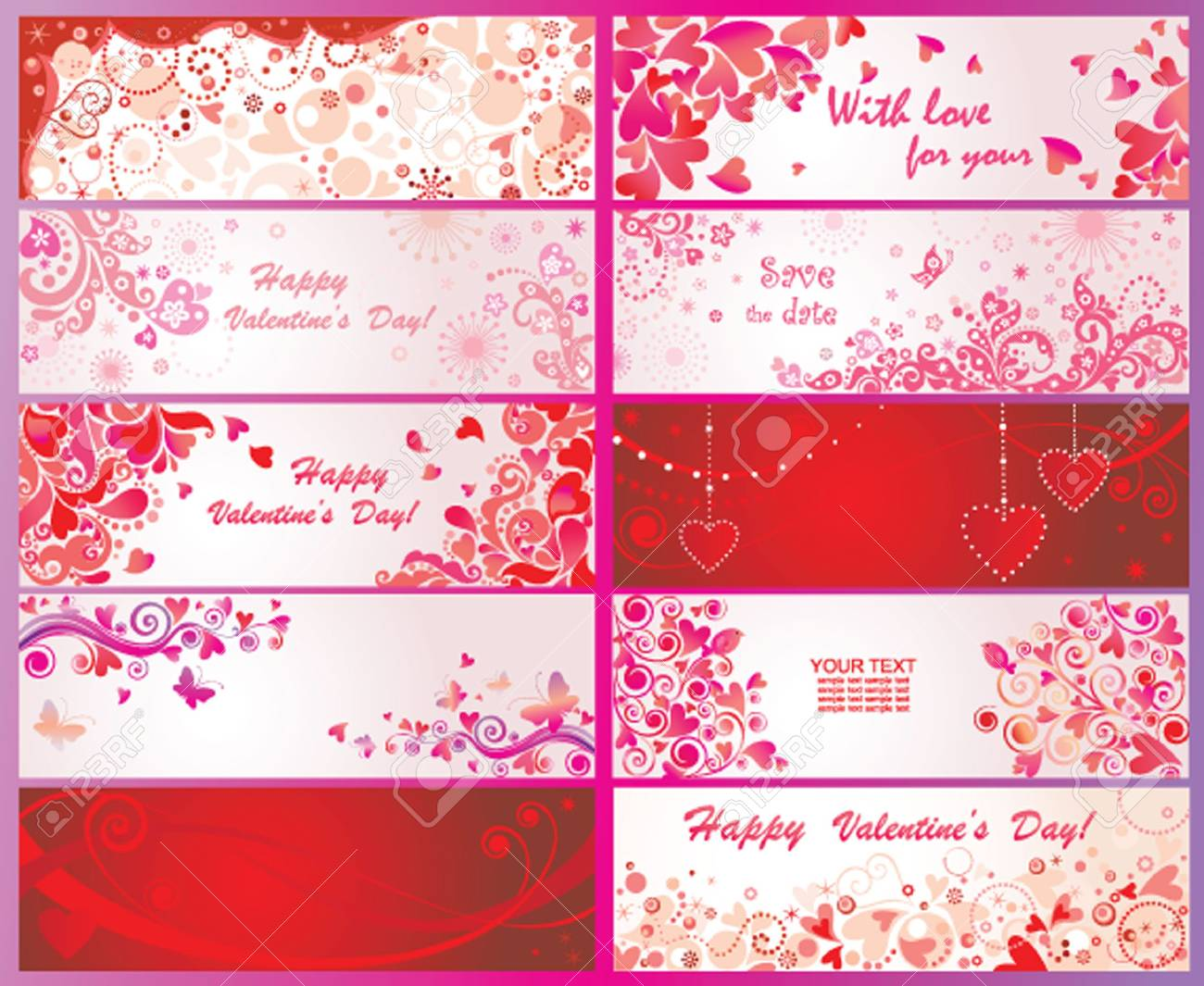 Set of valentines day banners Stock Vector - 21059289