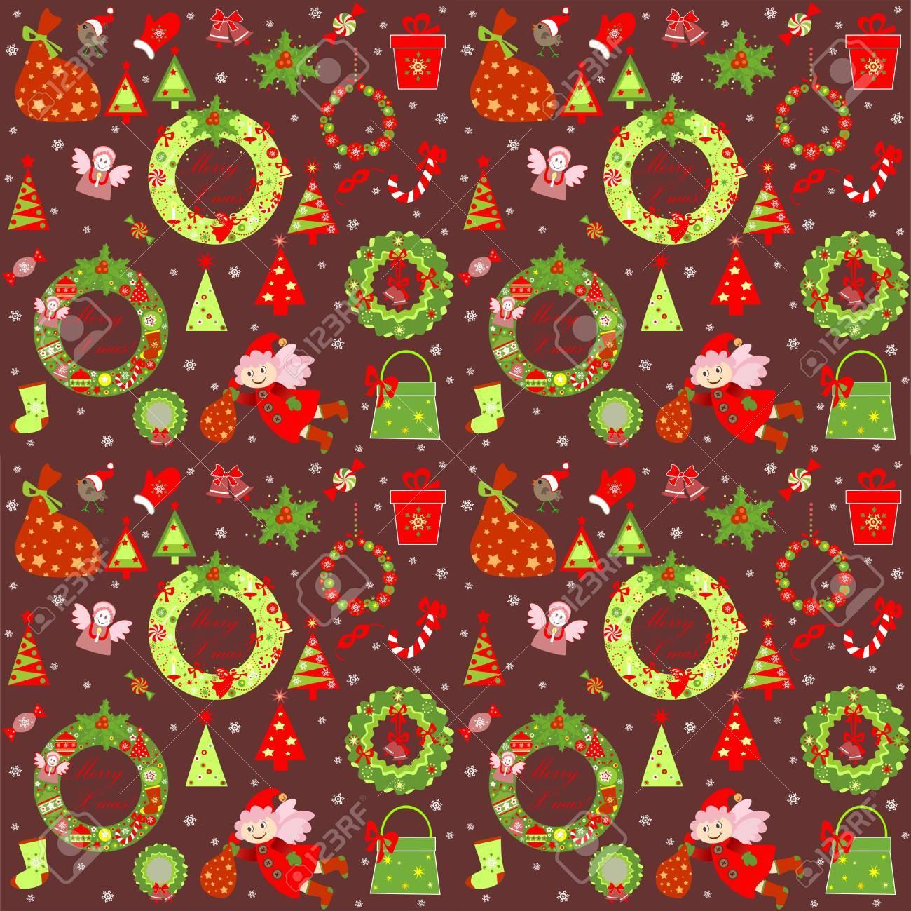 Noël Papier Peint Rétro Clip Art Libres De Droits , Vecteurs Et