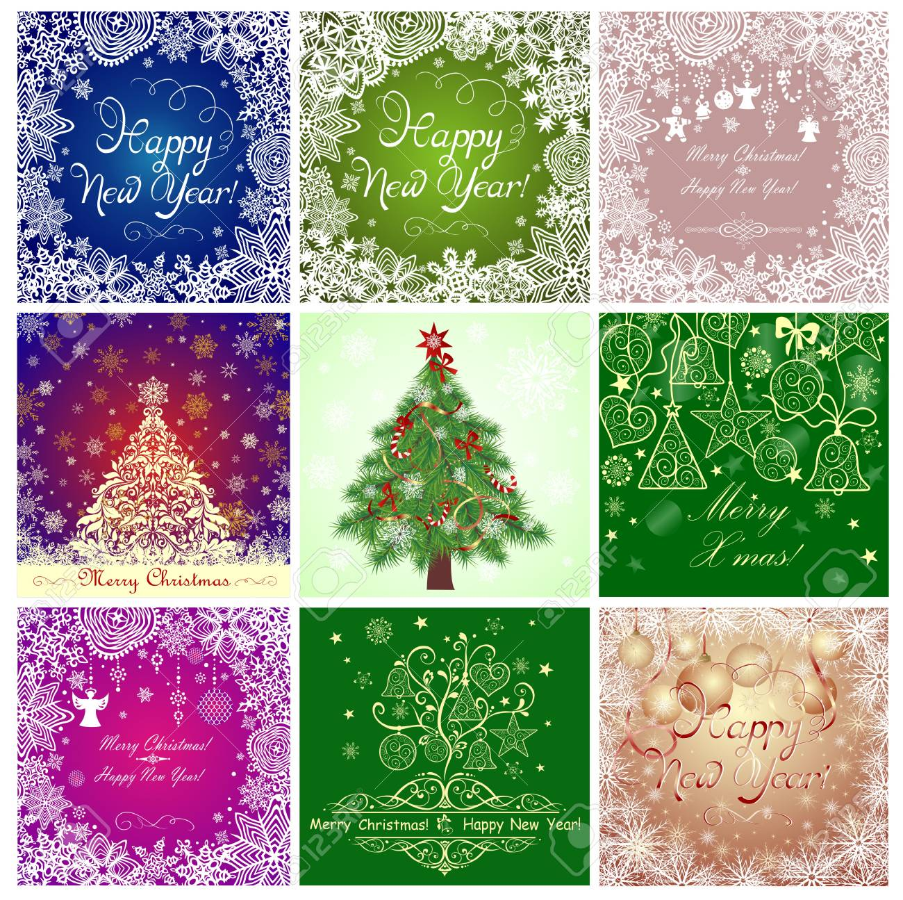 Greeting Cards For New Years Holidays Royalty Free Cliparts Vectors