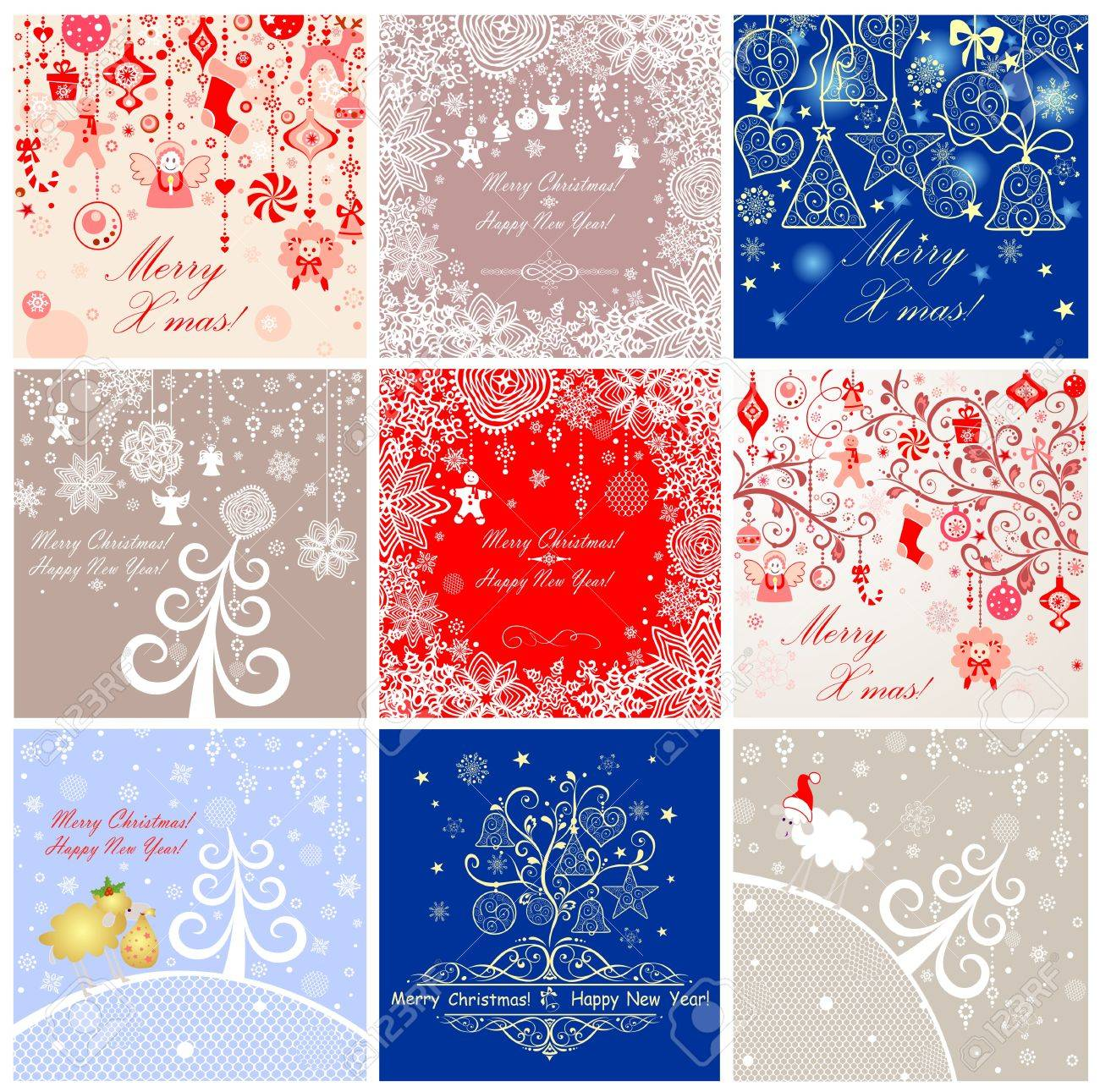 Xmas Retro Funny Greeting Cards Royalty Free Cliparts Vectors And