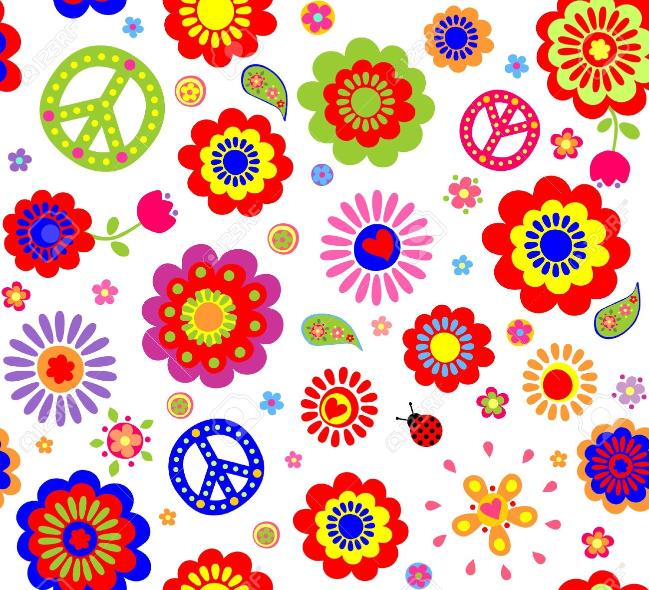 Hippie Wallpaper With Abstract Flowers Stock Vector
