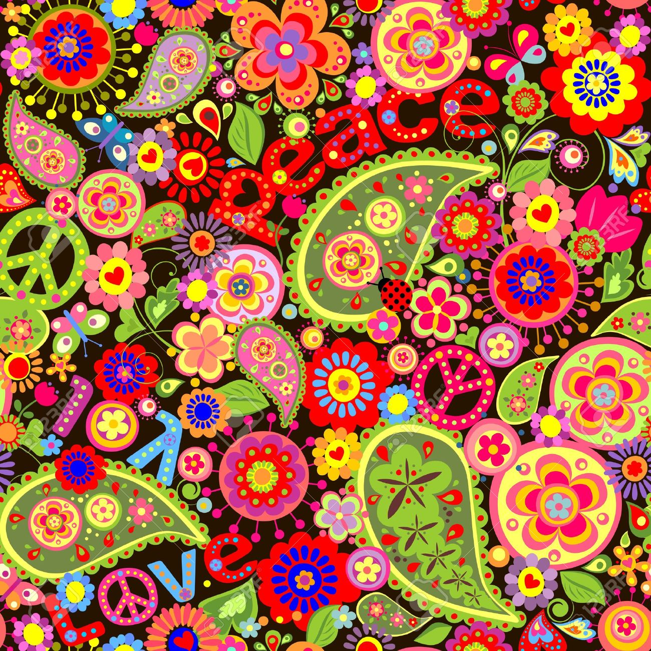 Hippie wallpaper with colorful spring flowers and paisley Stock Vector - 38741740