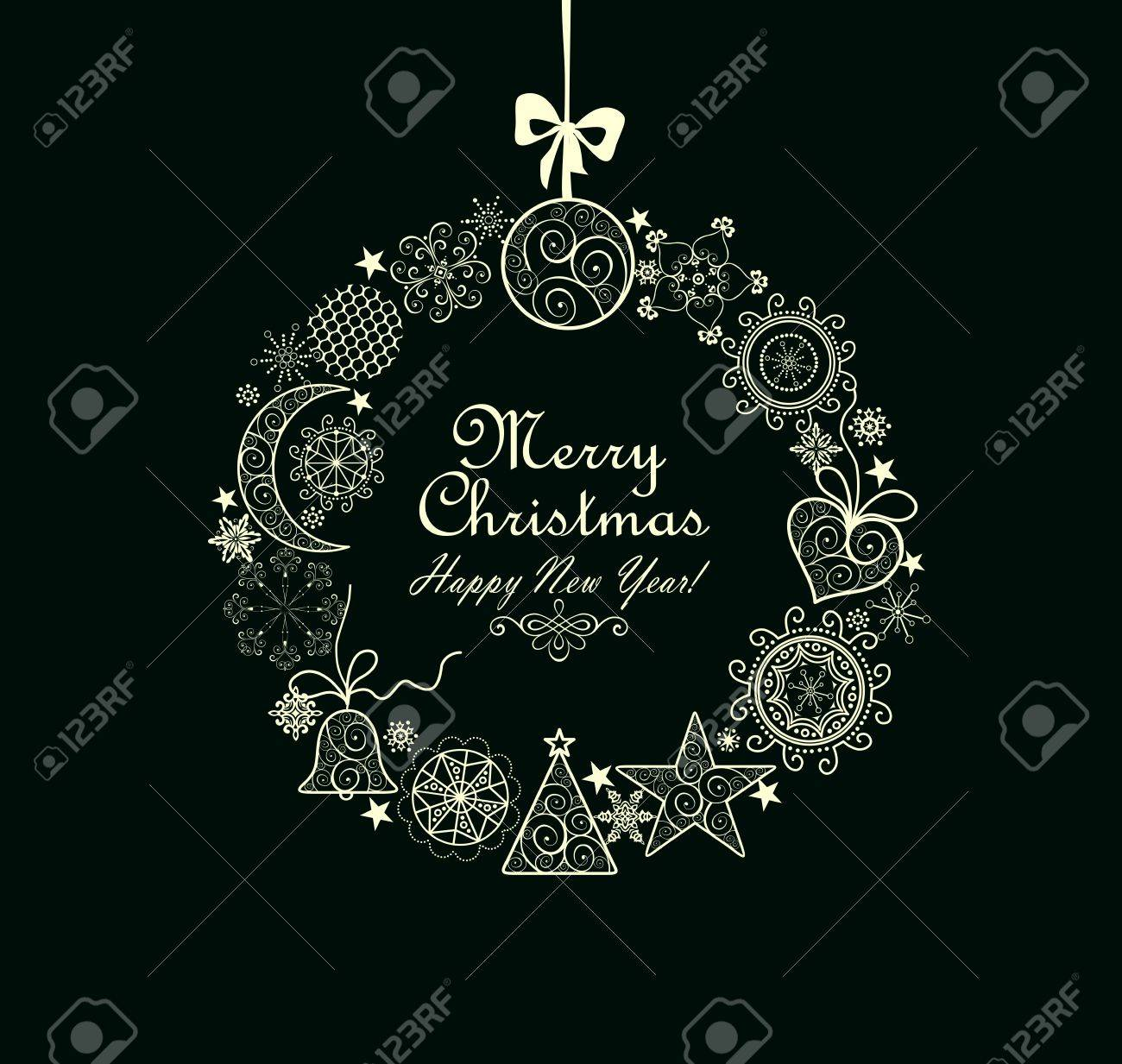 Greeting card with xmas wreath - 43825566
