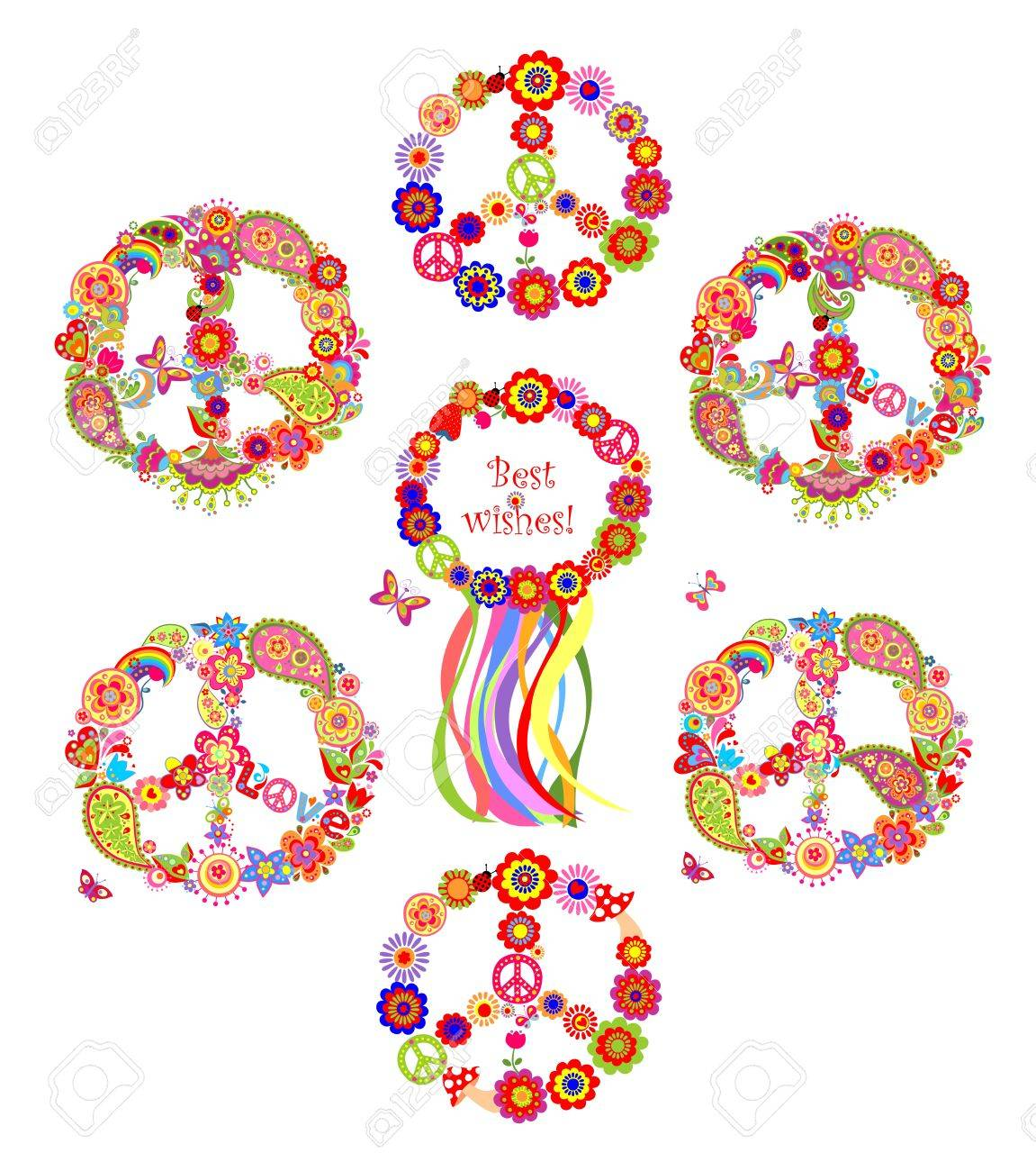 Collection Of Peace Flowers Symbols Royalty Free Cliparts Vectors