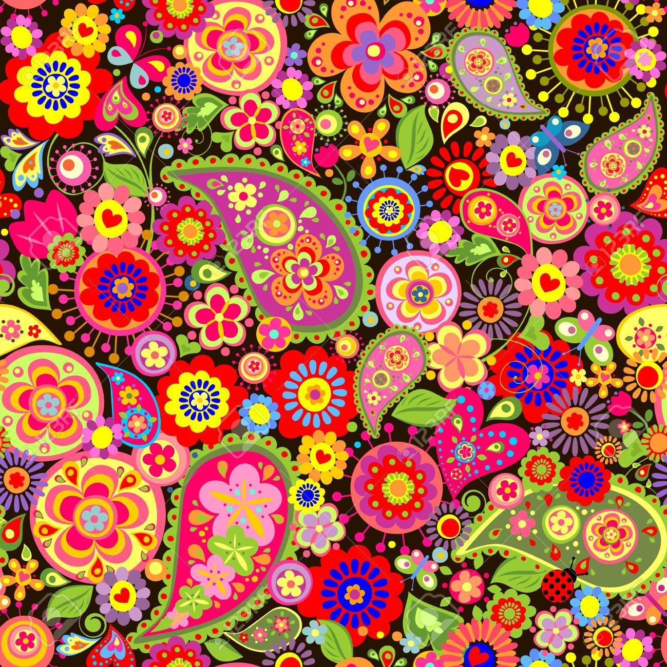 Spring Colorful Floral Wallpaper With Mankolam Royalty Free