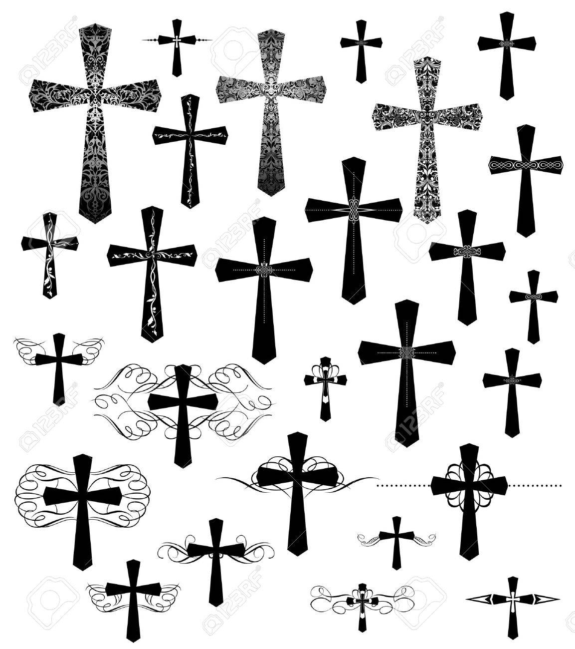 Set of vintage engraving crosses with flourishes - 51442145