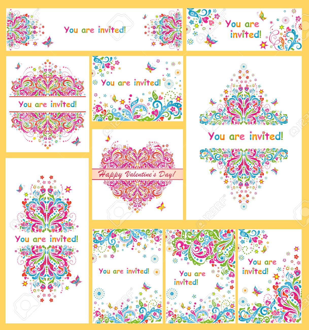 collection of colorful invitations for party royalty free cliparts