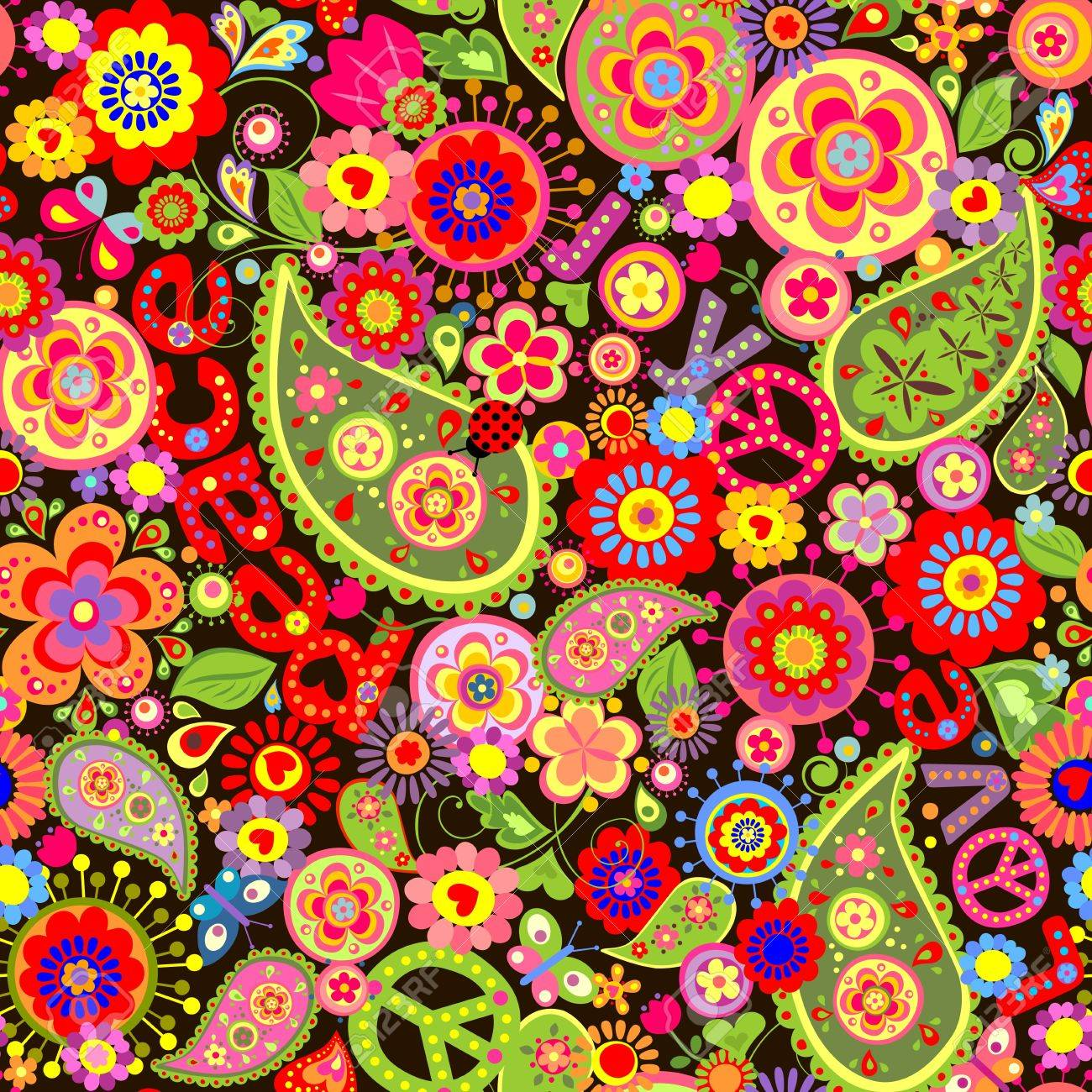 Hippie wallpaper with colorful flower print Stock Vector - 51518174